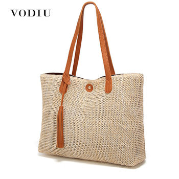 f721dbb17e3 Bolso de paja para mujer Bolso grande bolso de mano de mujer tejido diseño  borla cadena moda mujer bolso de hombro señora Casual nuevo