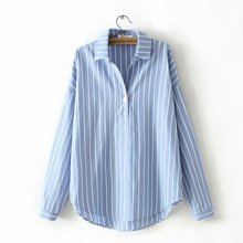 Women Casual  Long Sleeve Womens Clothing V-Neck Button Up Striped Shirt Tops Shirts