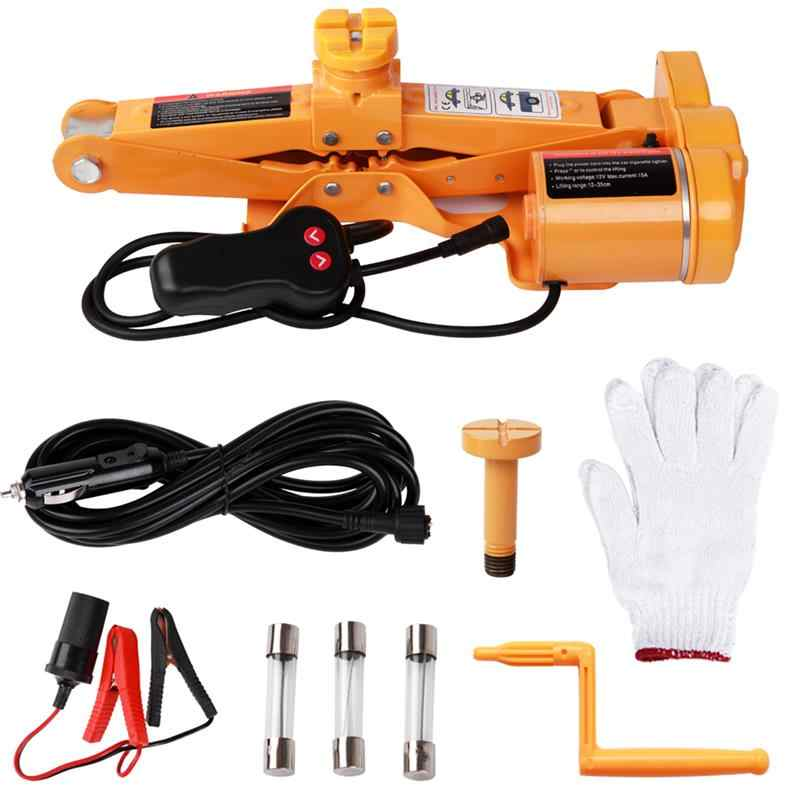 Car Scissor Electric Lifting Jack 12V 3Ton Tire Replacing Tools Kit Hydraulic Floor Jack Impact Wrench Auto Lifting Power