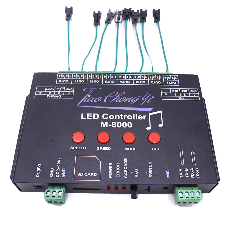 Ws2812 controlador de música led controlador M 8000 progable 8096 pixel rgb controlador para ws2812b ws2801 sk6812 módulo tira conduzida - 6