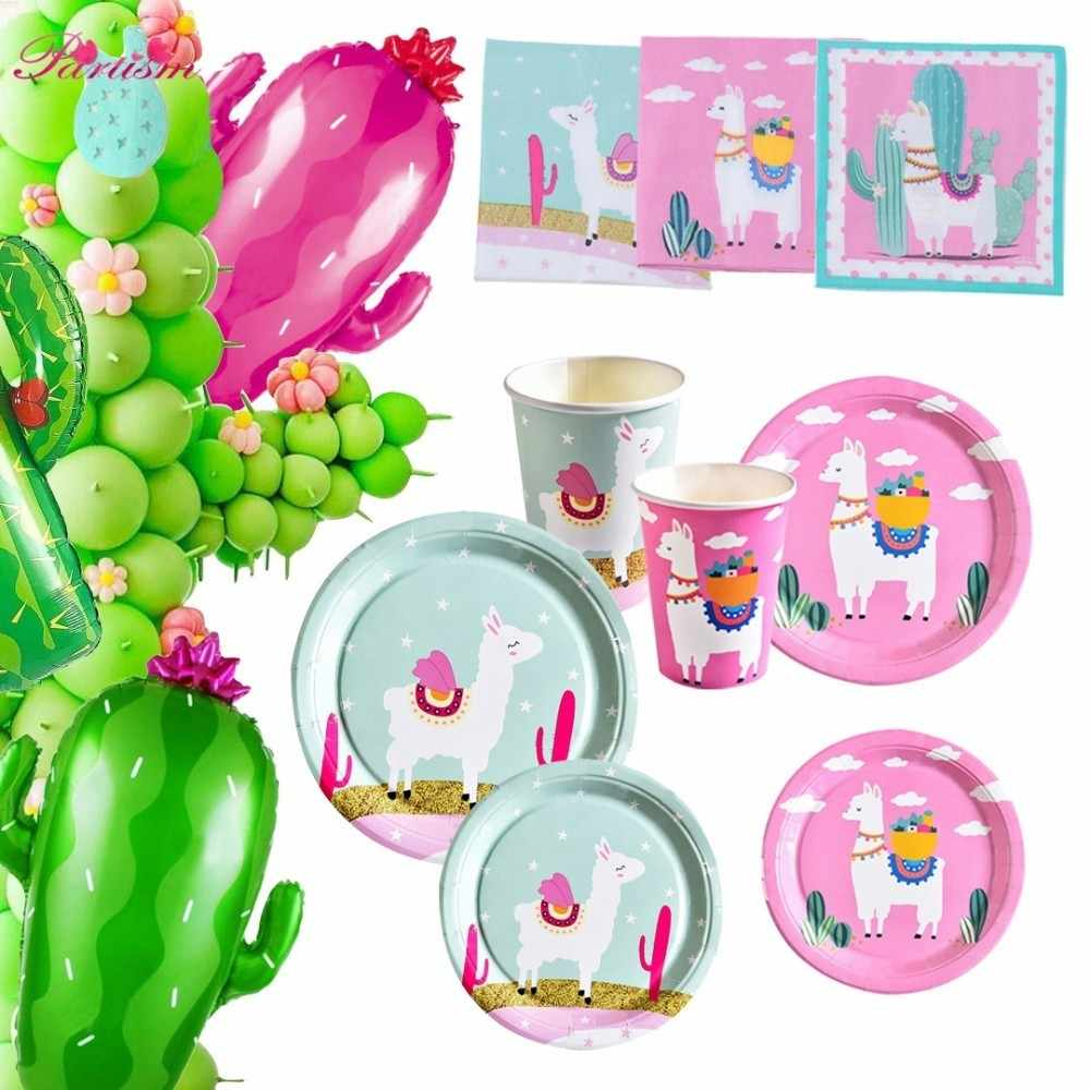 1Set Cactus Party Disposable Tableware Llama Balloons Napkin Green Plant Garland For Birthday Decoration Tropical Party Supplies