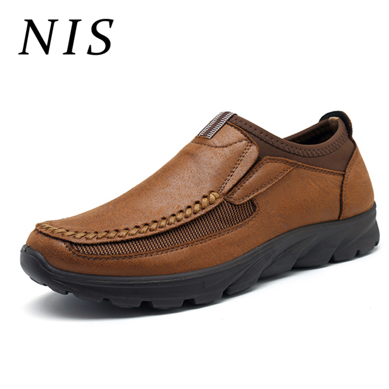 NIS Loafers Shoes Gifts Dad Slip-On Winter Casual Mens Flats Autumn Soft PU for Older