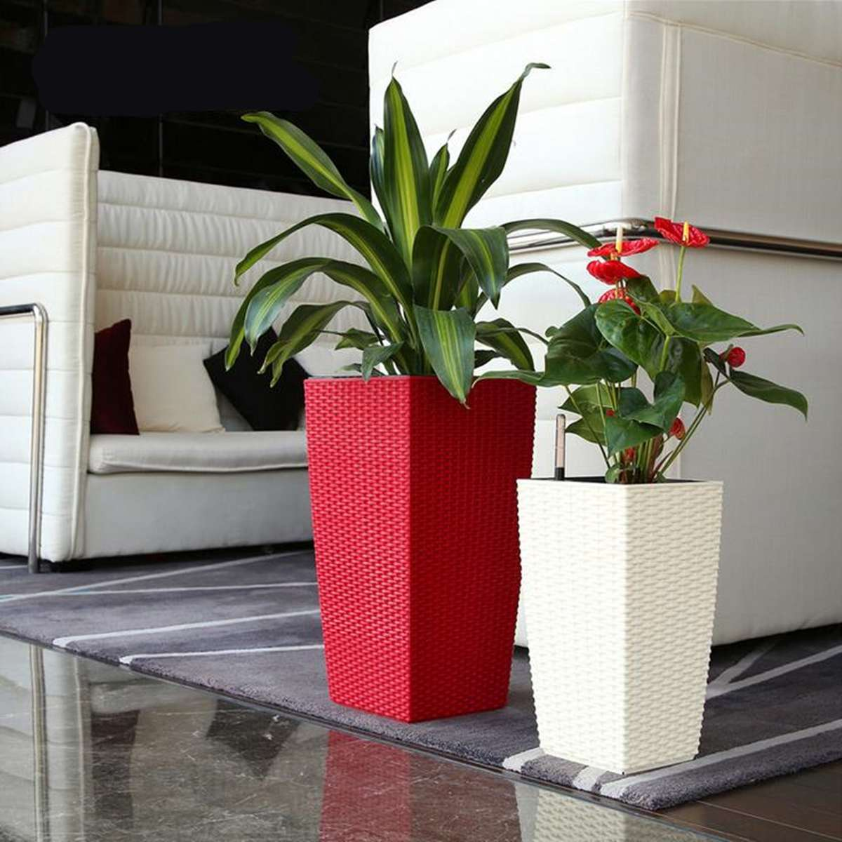 Outdoor/Indoor Creatives Self Watering Planter Home Gardening Plastic Woven Garden Flower Pot With Water Level Indicator