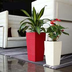 Outdoor/Indoor Creatives Self Watering Planter Home Gardening Plastic Woven Garden Flower Pot with Water Level Indicator