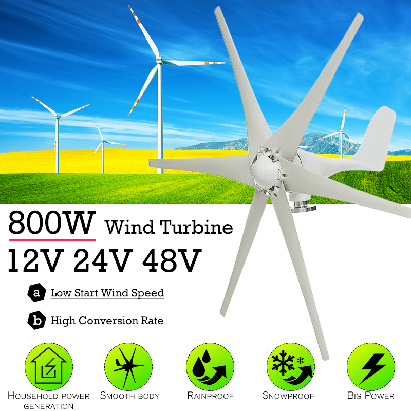 <font><b>800W</b></font> 12V 24 V 48 Volt 6 Nylon Fiber Blade Horizontal Home <font><b>Wind</b></font> Turbines <font><b>Generator</b></font> Power Windmill Energy Turbines Charge image