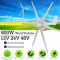 800 W 12 V 24 V 48 V Volt 6 de fibra de Nylon hoja Horizontal casa generador de las turbinas de viento de molino de viento de la energía las turbinas de carga