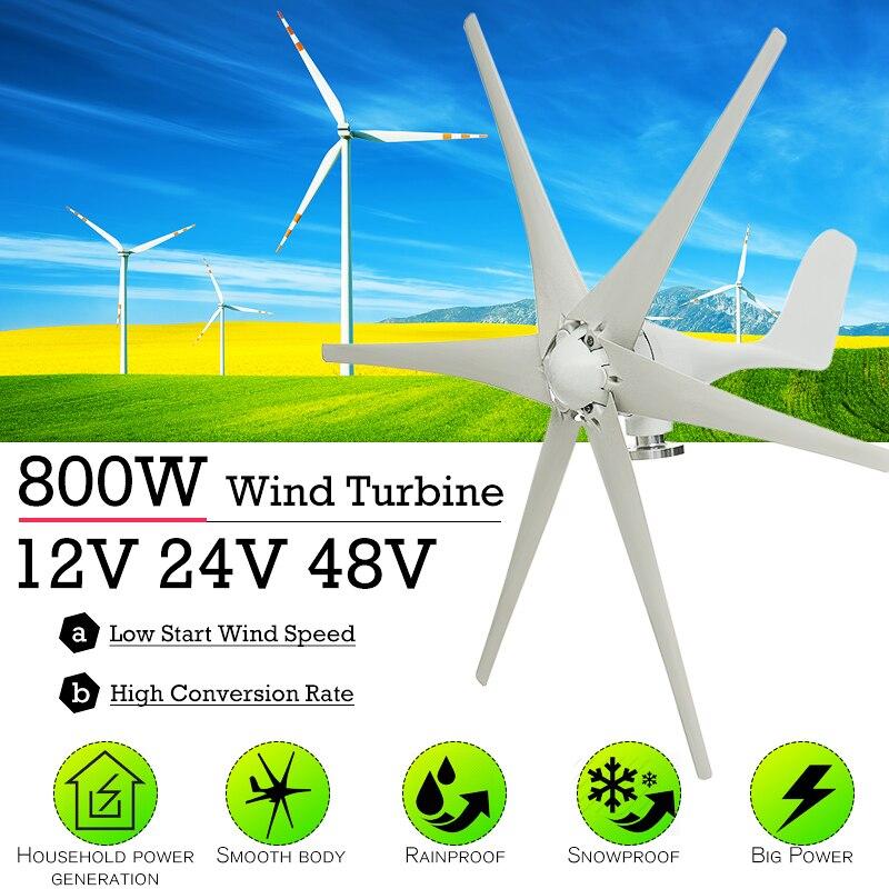 800 W 12 V 24 V 48 Volt 6 Fibra de Nylon Lâmina Horizontal Turbinas Eólicas Casa Moinho de Vento Gerador de Energia de Energia turbinas de Carga