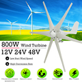 800 W 12 V 24 V 48 Volt 6 Nylon Faser Klinge Horizontale Hause Wind Turbinen Generator Power Windmühle Energie turbinen Ladung