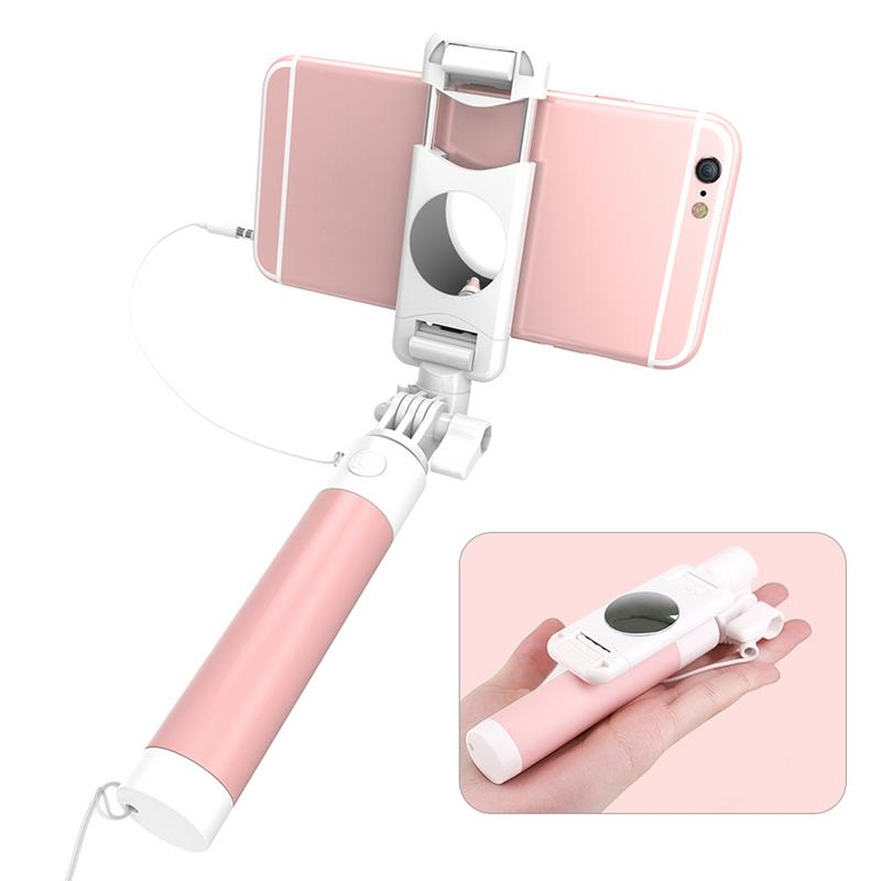 New Universal Selfie Stick Self timer Lever Mini Foldable Wired Selfie Stick For IPhone 6 6S For Samsung Huawei Mobile Phone in Selfie Sticks from Consumer Electronics