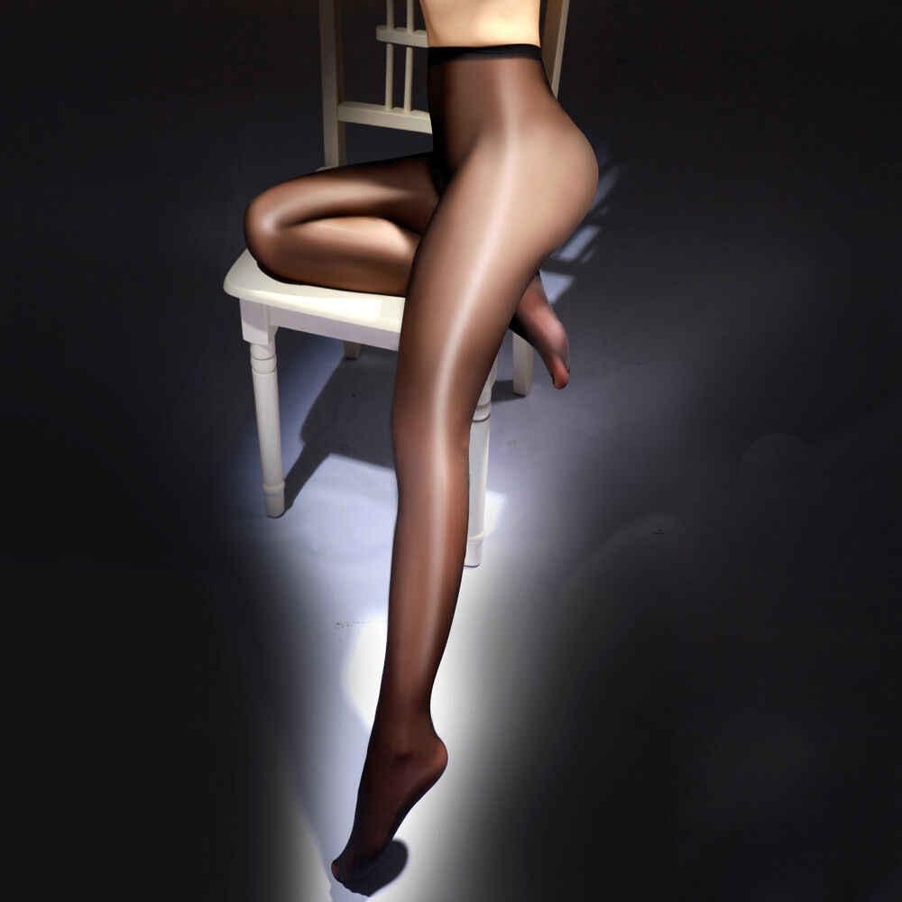 Aperto Biforcazione Delle Donne A Vita Alta Sexy Sheer Olio Lucido Lustro Lucido Classico A Forma di Corpo Collant Lingerie Calzamaglie