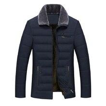 Casaco grosso acolchoado de algodão de negócios quente parka inverno masculino casual clássico blusão longo velo forrado acolchoado casaco roupas