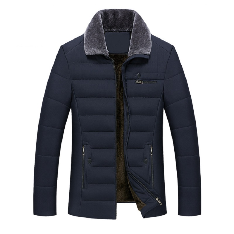 Thick Jacket Quilted Business Cotton Warm Parka Winter Men Casual Male Classic Windbreaker Long Fleece Lined Padded Coat Clothes