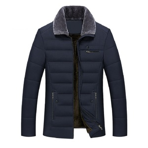 Image 1 - Thick Jacket Quilted Business Cotton Warm Parka Winter Men Casual Male Classic Windbreaker Long Fleece Lined Padded Coat Clothes