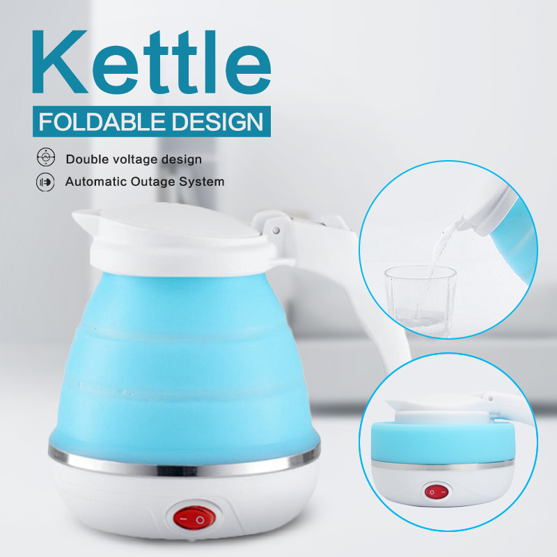 680W Portable Foldable Electric Kettle Silicone Mini Small Electric Kettles 110-240V EU Plug Travel Water Boiler Camping Kettle