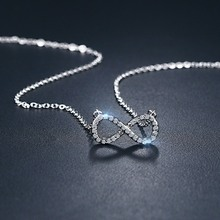 CZ Infinity Necklace in Silverly Stainless Steel Pendant for Women Girls Jewelry