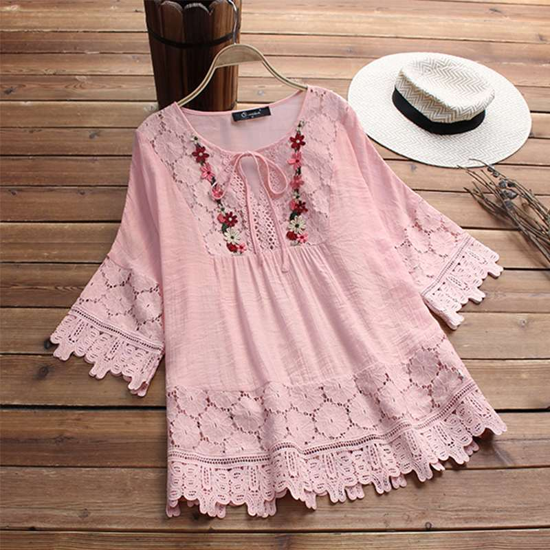 2019 Summer Women Lace Crochet Blouse Tunic Tops Stylish Casual Patchwork Lace Up Shirts Chemise Hollow Blusas Tee 5XL Plus Size