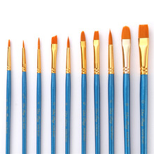 10Pcs Watercolor Gouache Paint Brushes Different Shape Round Pointed Tip Nylon Hair Painting Brush Set Drawing Art Supplies