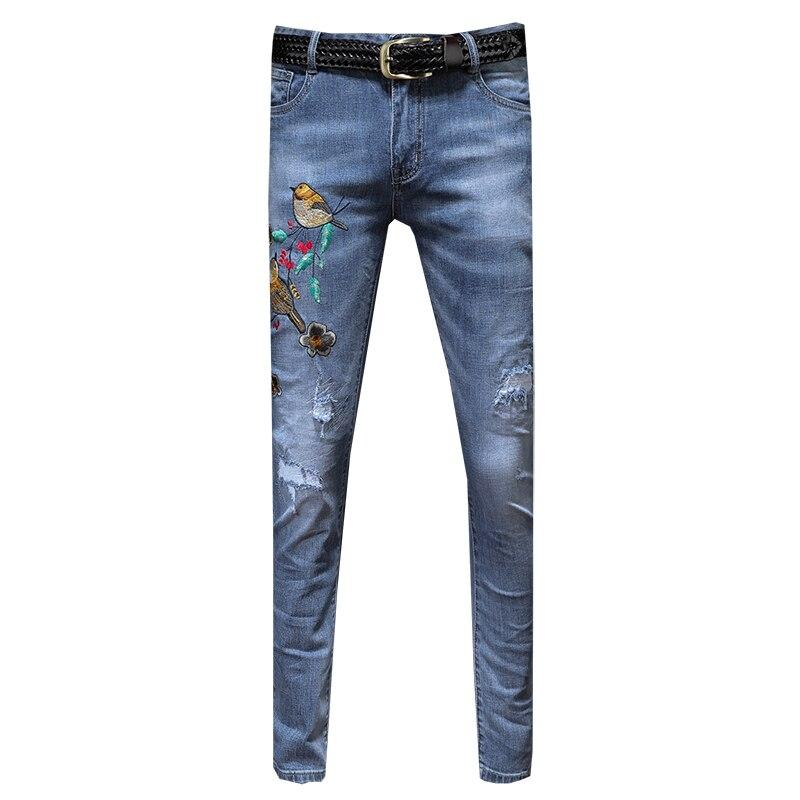 Jeans Männer 2019 Frühling Und Sommer Neue Trend Loch Dünne Abschnitt Koreanische Stickerei Füße Schlank Männer Lange Hosen Auf Der Ganzen Welt Verteilt Werden