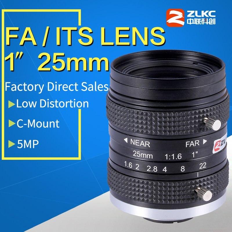 5 Mega Pixel C Montar 25mm 1-polegada Baixa distorção ITS/Máquina de Visão lente de distância focal fixa manual Iris Lente da câmera Industrial
