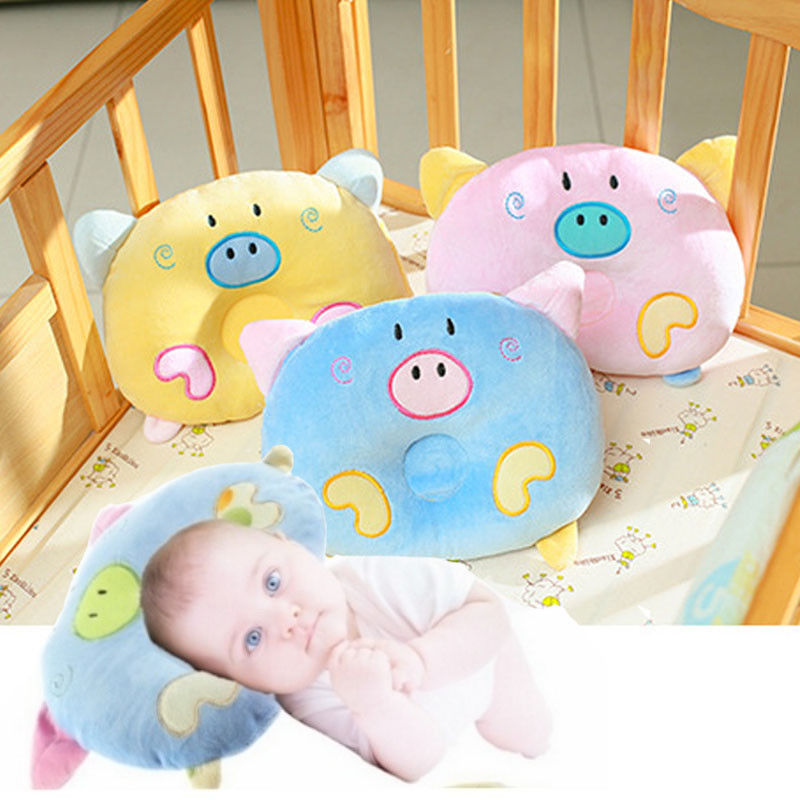 Unisex Baby Newborn Soft Cartoon Pig Head Shape Pillow Correction Cotton Pillow Gift