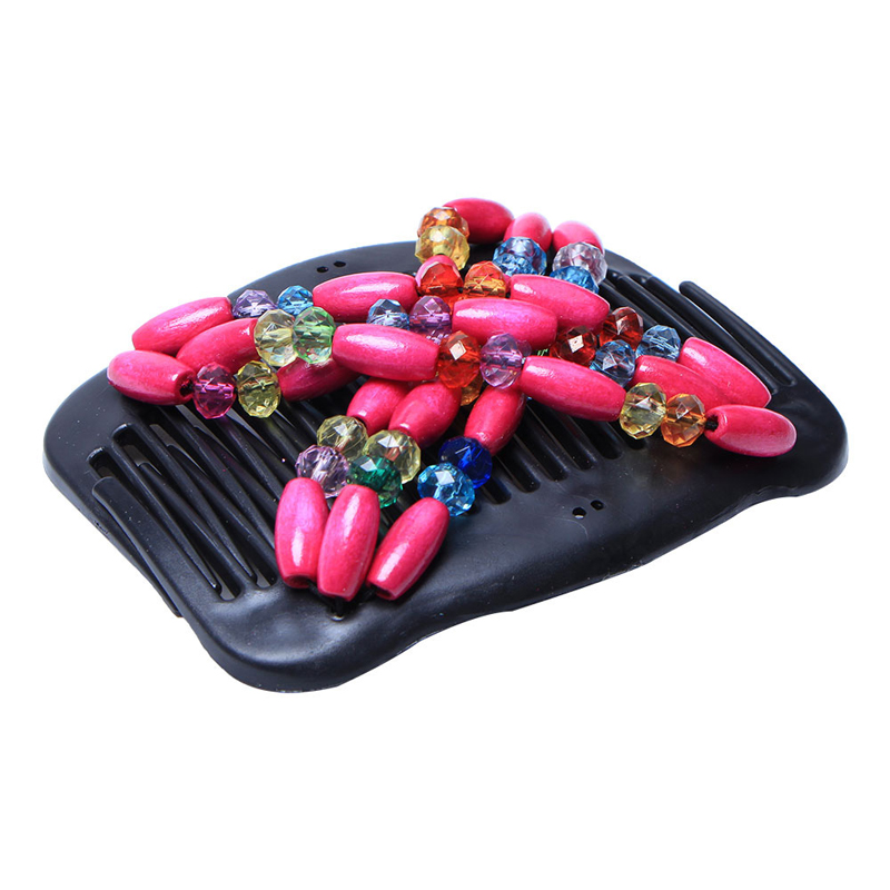 Vintage Magical Retro Double Beaded Hair Comb Clip Ethnic Fashion Beads Elasticity Hairpin Stretchy Hair Combs Pins For Women