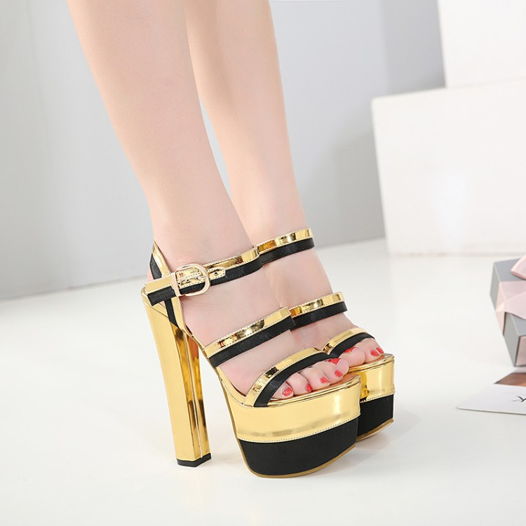 Carole Levy Fashion 2019 Mixed Color Platform Sexy Narrow Band PU Leather in Gold Color Square Heels For Party Super High HeelCarole Levy Fashion 2019 Mixed Color Platform Sexy Narrow Band PU Leather in Gold Color Square Heels For Party Super High Heel