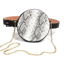 купить Round Waist Bag Women with Metal Chain Serpentine Belt Bags Ladies Single Shoulder Bag Female PU Leather Phone Waist Packs по цене 648.08 рублей
