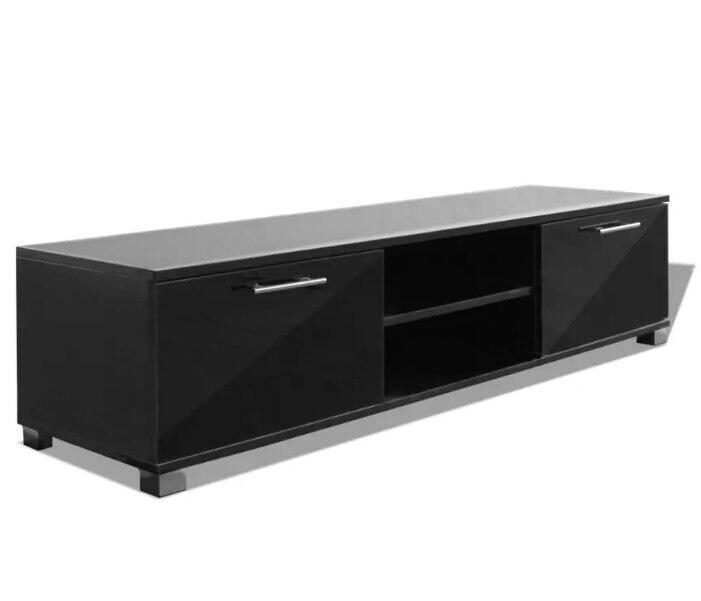 VidaXL Glossy Zwarte TV Kast Modern Design Woonkamer Meubels TV Stands Met 4 Kabel Outlets Stevige Constructie - 2