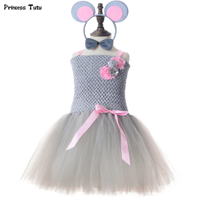 Little Mouse Tutu Dress Gray Pink Tulle Flower Kids Tutu Dresses for Girls Birthday Party Clothes Girls Halloween Costume 1-14Y