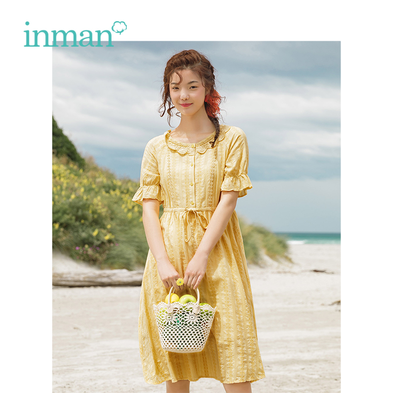 INMAN 2019 Summer New Arrival O-neck Literary Pretty Pastoral Style Defined Waist Slim A-line Women Dress