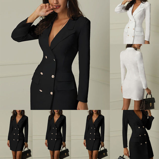 Autumn Winter Suit Blazer Women 2019 New Casual Double Breasted Pocket Women Long Jackets Elegant Long Sleeve Blazer Outerwear 3