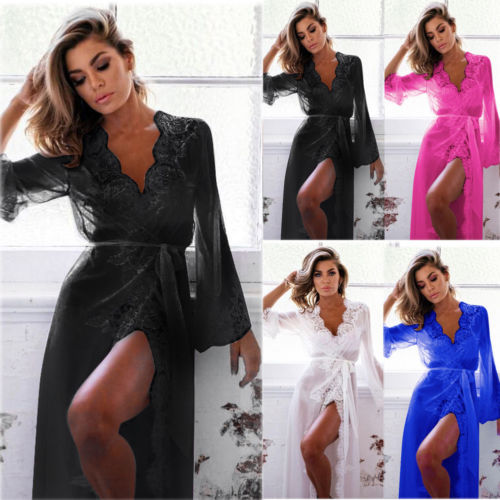 Sexy Women Silk Satin Nightgown Lace Robes Babydoll Sleepwear Gown Kimono Dress