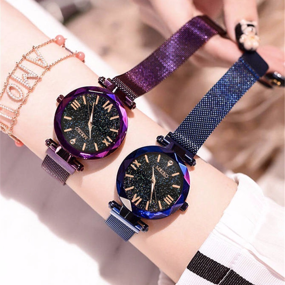 Watch Casual Magnet-Buckle Mesh Starry Feminino Roman Women Ladies Luxury Geometric-Surface