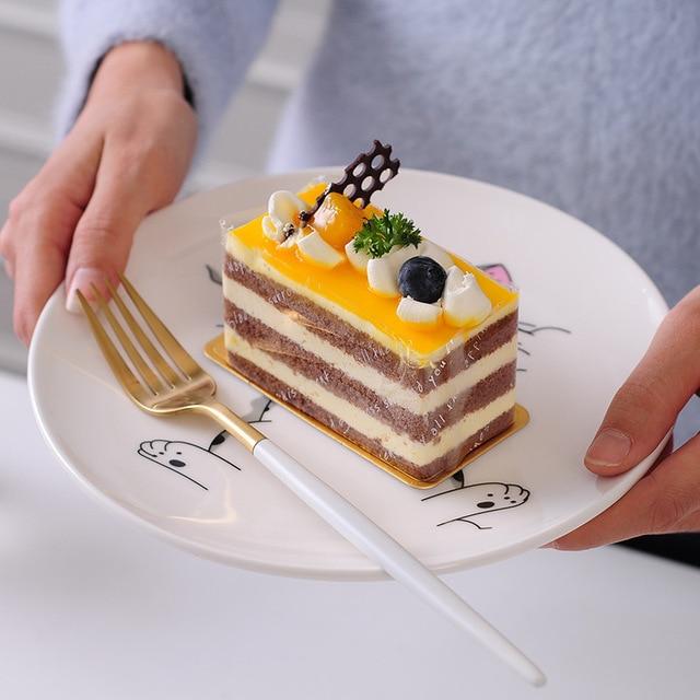 Dessin animé chat en céramique assiette créative Cuisine plat mignon blanc plaque Steak riz soupe os chine vaisselle cadeau céramica plat 3