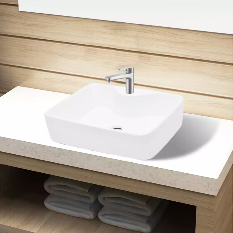 Ceramic Bathroom Sink Basin Hole White Square Bathroom Furniture White