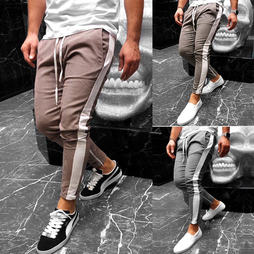 2019 New Men Casual Elegant Houndstooth Plaid Pants Pockets Retro Casual Wear Casual Fashion With Sash Trousers Mujer
