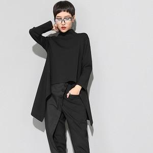 Image 2 - [EAM] 2020New Spring Autumn  High Collar Long Sleeve Black Irregular Hem Loose T shirt Women Fashion Tide All match JK397