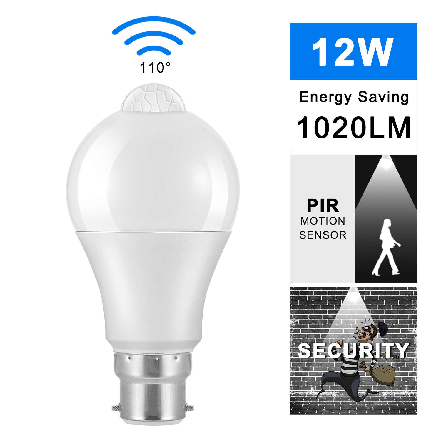 12W B27 B22 LED Bulb Light Motion Sensor PIR Sensor AC 85-265V Energy-Saving LED Lamp Bulb 6000K Cool White For Entrance