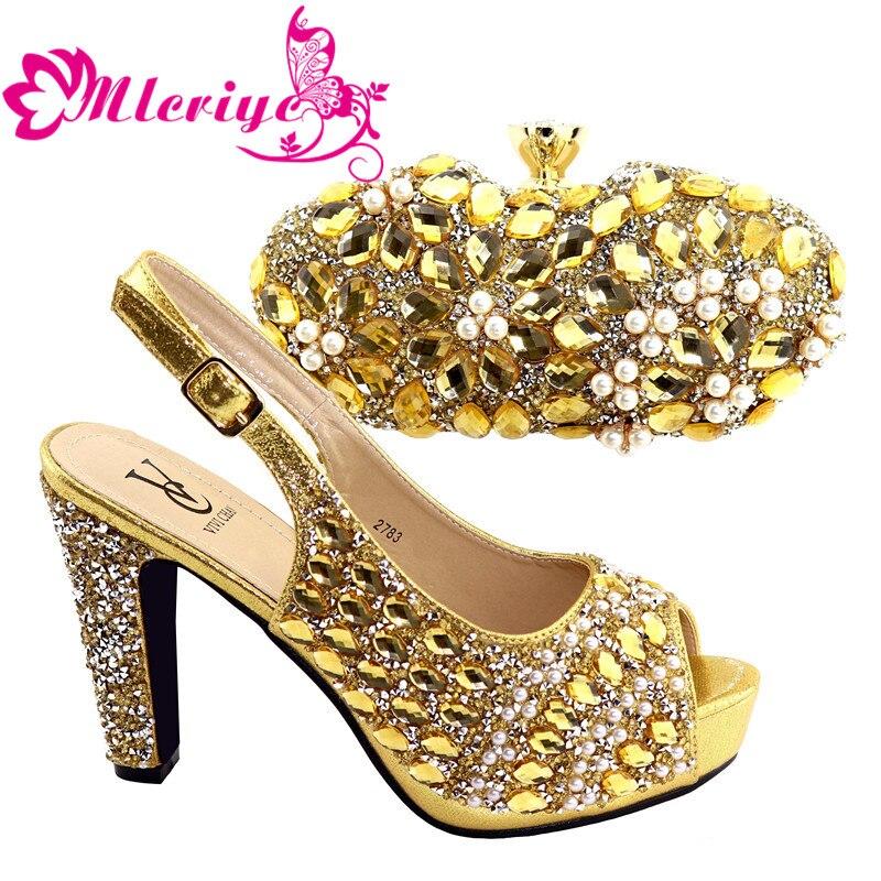 Mariée portant 2019 chaussures italiennes assorties et sac ensemble 2783-or Style africain dames chaussures et sac à assortir pour robe de mariée