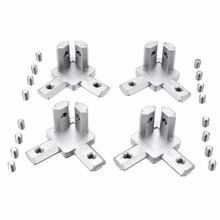 4pcs 2020 Aluminum Profile 3-Way End Corner Bracket Connector for T Slot Aluminum Extrusion Profile Accessories with Screws