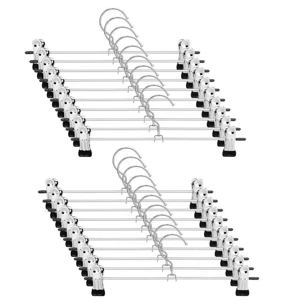 Fashion Pant Hangers Skirt Hangers With Clips 20 Pack Metal Trouser Clip Hangers For Space Saving, Ultra Thin Rust Resistant H
