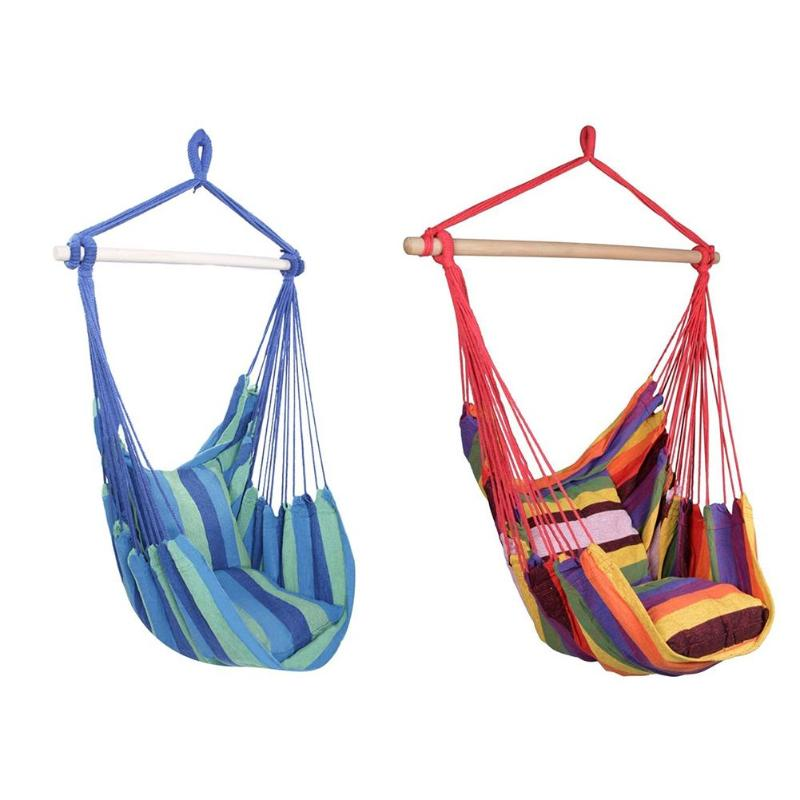 Portable Hammock Chair Hanging Rope Chair Swing Chair Seat With 2 Pillows For Garden Indoor Outdoor Fashionable Hammock Swings