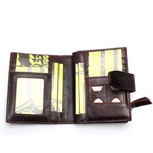 Image 5 - Portefeuille en cuir véritable pour hommes, qualité supérieure, cire dhuile, portefeuille en cuir de vache, porte monnaie pour hommes, fermeture éclair, 100%