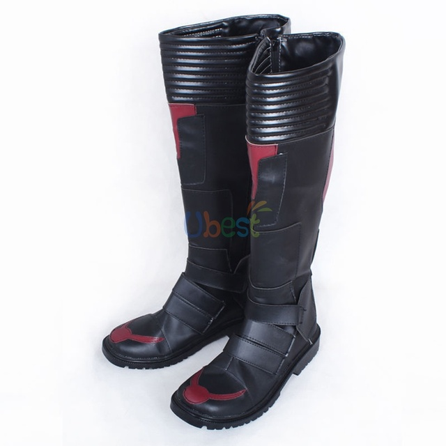 Movie Ant Man Scott Lang Men Cosplay Shoes Black Boots Customized Size