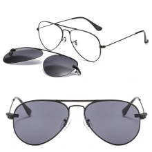 metal clip on sunglasses 3042 pilot shape trendy prescription glasses with megnatic removable polarized lens