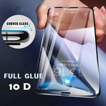 กระจกนิรภัยสำหรับ iPhone XS MAX XR X 8 7 8P 6 6S PLUS 11 Pro ป้องกันหน้าจอหรูหราฟิล์มแก้ว 10D โค้ง 10 ชิ้น/ล็อต