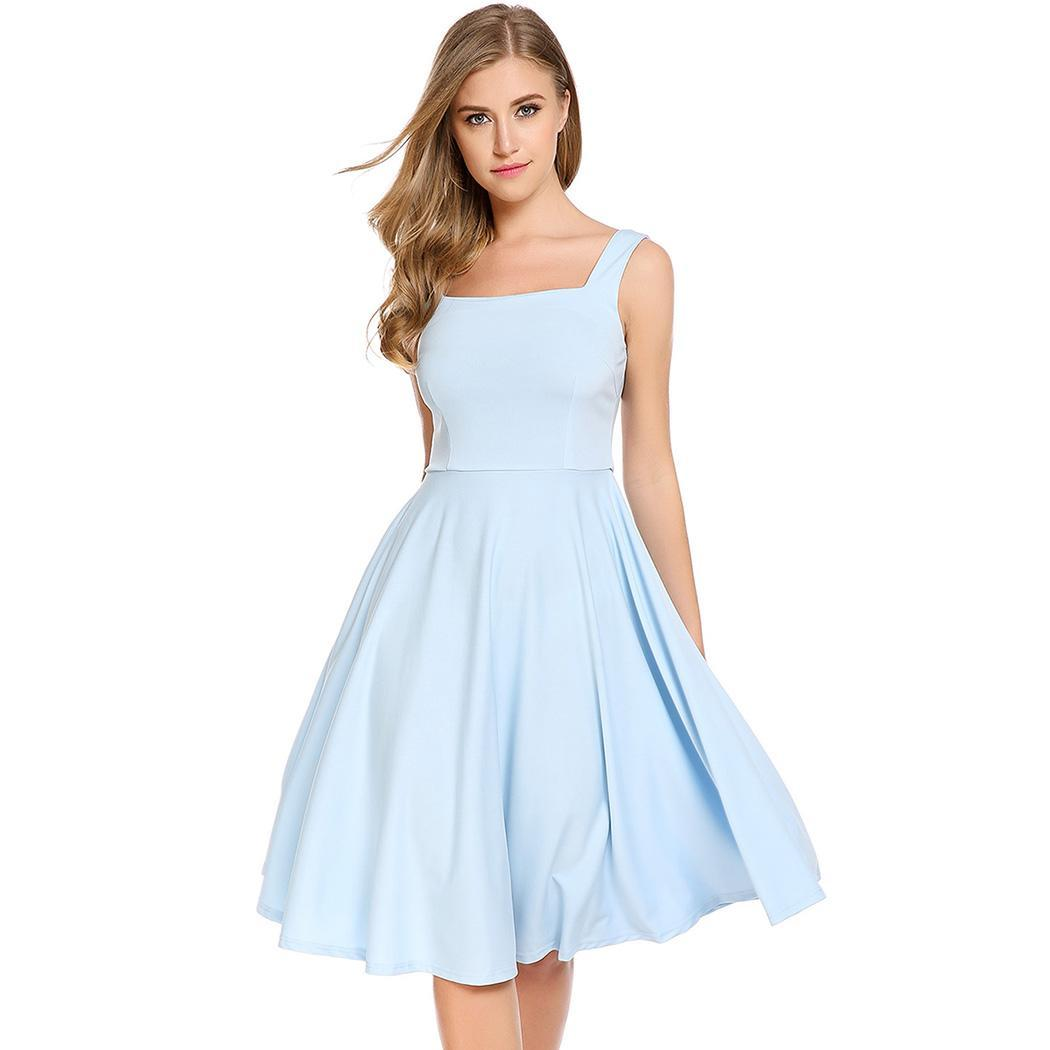 AL'OFA Women New Backless   Cocktail     Dress   Square Collar Sleeveless Solid Bow Elastic A-Line Pleated Party   Cocktail     Dresses