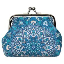 Ethnic Style Print Ladies Coin Purse Fashion Clasp Closure Pouch Change Womens Storage Bag