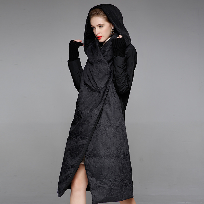 Winter down jacket woman hooded long overknee stand collar women oversize winter thicken coat 20188001