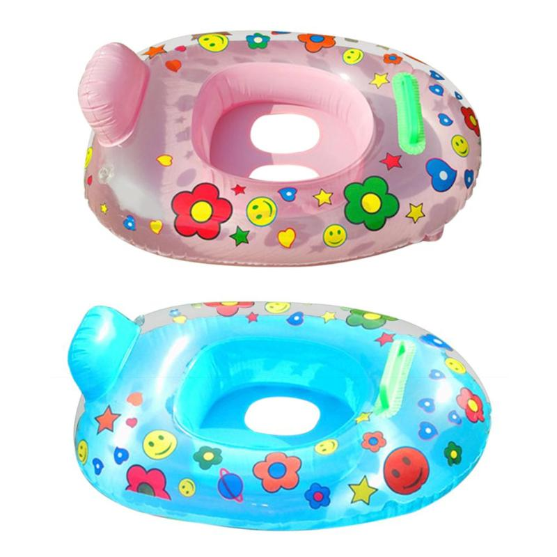 Baby Water Fun Swimming Ring Cartoon Print Safety Infant Inflatable Seat Float Circle Thicken Bathing Pool Accessories